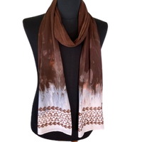 Ohe Kapala Rayon Wrap in Shades of Brown and White