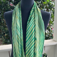 Shibori Rayon Infinity Scarf in Kelly Green and Gold
