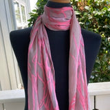 Devore Silk & Rayon Scarf in Pink and Gray