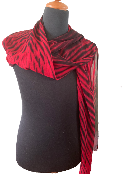 Silk Shibori Wrap in Red and Black
