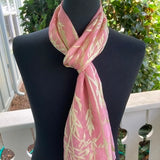 Devore Silk & Rayon Scarf in Pink and Lime