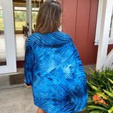 Shibori Silk & Wool Shrug in Blue & Black