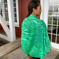 Devore Silk & Rayon Shrug in Emerald Green & Blue