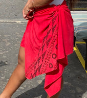 Ohe Kapala Rayon Wrap in Red