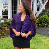Devore Silk & Rayon Shrug in Purple and Blue