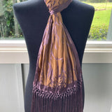 Devore Scarf with Fringe Mustard and Purple