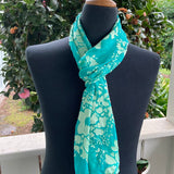 Devore Silk & Rayon Scarf in Turquoise and Yellow