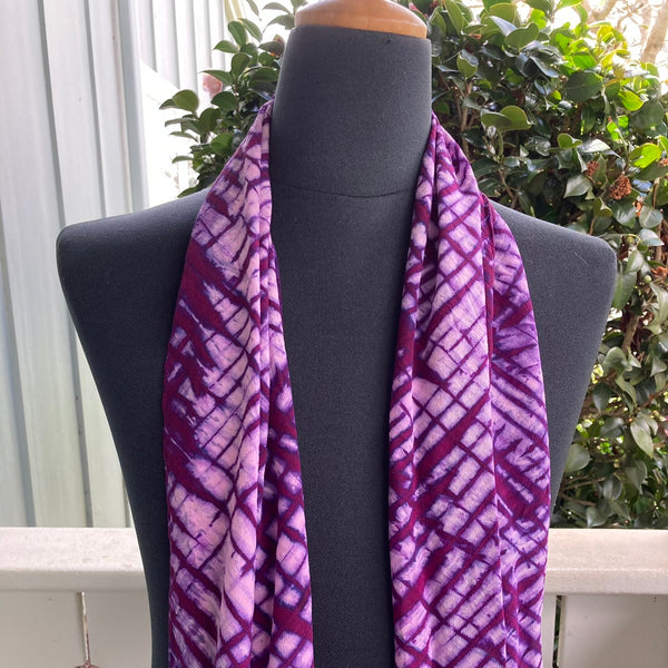 Silk Shibori Scarf in Pink and Red Violet