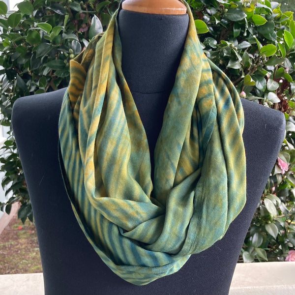 Shibori Rayon Infinity Scarf in Darker Greens and Gold