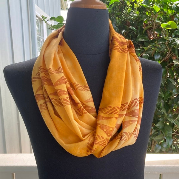 Ohe Kapala Rayon Infinity Scarf in Golden Yellow