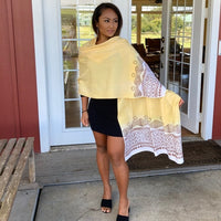 Ohe Kapala Rayon Wrap in Light Yellow