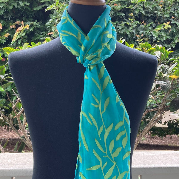 Devore Silk & Rayon Scarf in Deep Turquoise and Yellow/Green