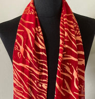 Silk & Rayon Scarf in Red and Gold