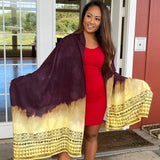 Ohe Kapala Rayon Wrap in Plum and Golden Yellow