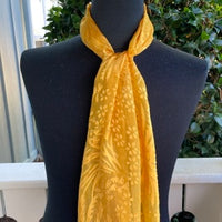 Devore Silk & Rayon Scarf in Yellow Gold