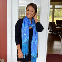 Devore Scarf with Fringe in Light Blues