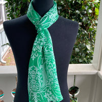 Silk & Rayon Scarf in Kelly Green and Silver