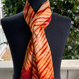 Silk Shibori Scarf in Shades of Red-Orange