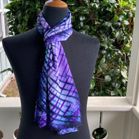Silk Shibori Scarf in Blues and Purples