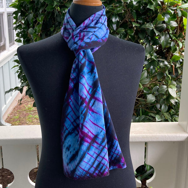Silk Shibori Scarf in Blues and Magenta