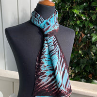 Silk Shibori Scarf in Aqua and Brown