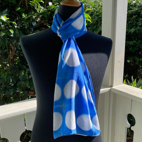 Silk Shibori Scarf in Medium Blue and White