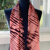 Silk Shibori Scarf in Salmon
