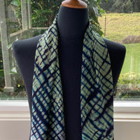 Silk Shibori Scarf in Blues and Greens