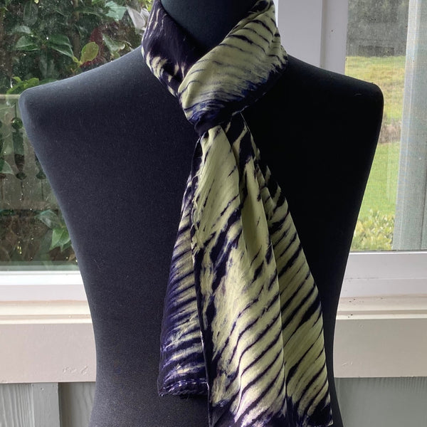 Silk Shibori Scarf in Pale Yellow and Navy Blue