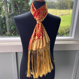 Devore Scarf with Fringe in Orange and Yellow