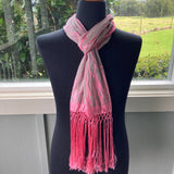 Devore Scarf with Fringe in Pink and Beige