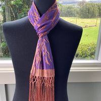 Devore Scarf with Fringe in Purple and Copper