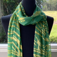 Devore Scarf with Fringe in Green and Gold