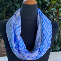 Shibori Rayon Infinity Scarf in Blue and White