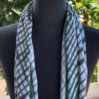 Shibori Rayon Infinity Scarf in Green and Purple