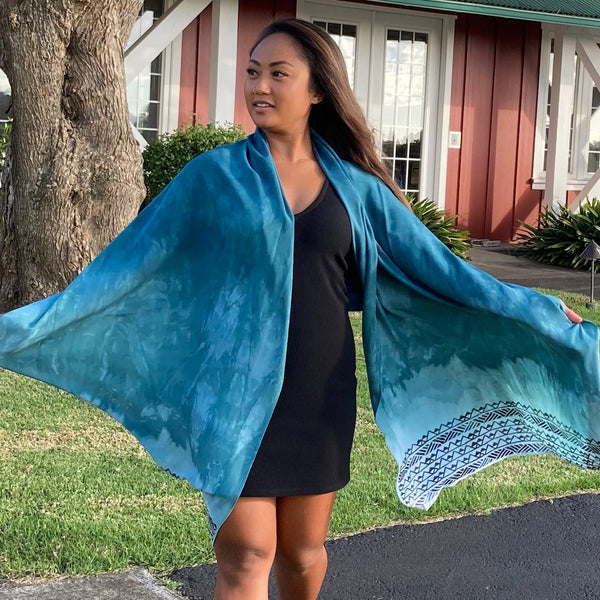 Ohe Kapala Rayon Wrap in DARK Teal