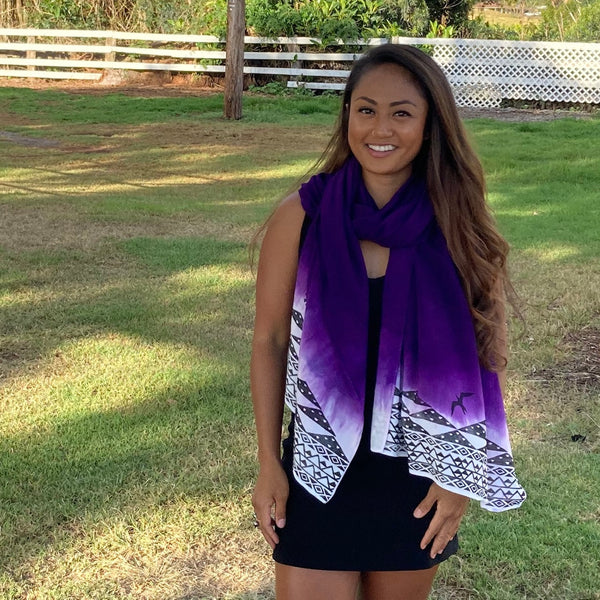Ohe Kapala Rayon Wrap in Purple and White