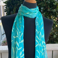 Devore Silk & Rayon Scarf in Turquoise and Yellow-Green