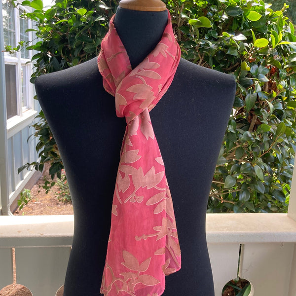 Devore Silk & Rayon Scarf in Coral and Light Brown