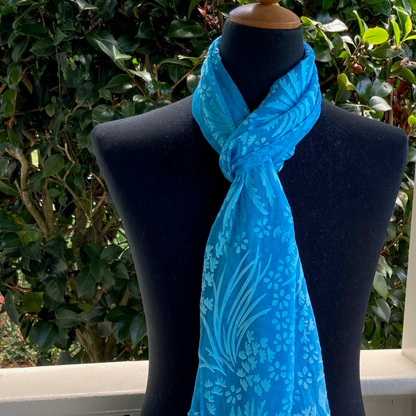 Devore Silk & Rayon Scarf in Turquoise