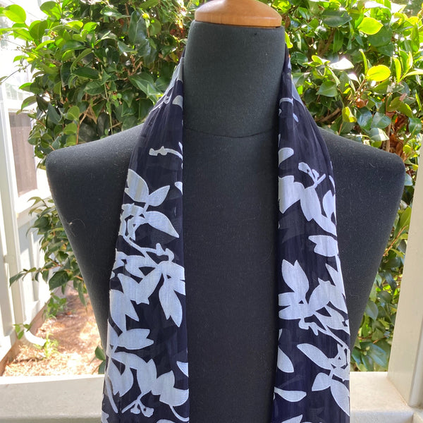 Devore Silk & Rayon Scarf in Black and Silver