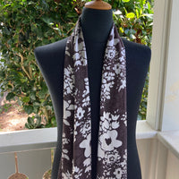 Devore Silk & Rayon Scarf in Dark Brown and White