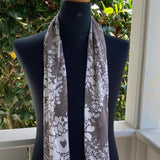 Devore Silk & Rayon Scarf in Beige and White