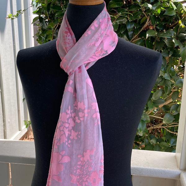 Devore Silk & Rayon Scarf in Pink on Gray