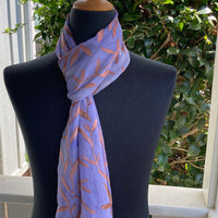 Devore Silk & Rayon Scarf in Copper on Blue-gray
