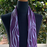 Devore Silk & Rayon Scarf in Red Violet and Silver
