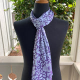 Devore Silk & Rayon Scarf in Purple and Silver