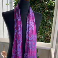 Devore Silk & Rayon Scarf in Red Violet and Purple