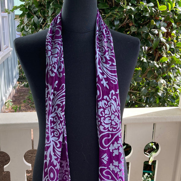 Devore Silk & Rayon Scarf in Dark Violet and Silver