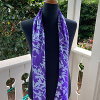 Devore Silk & Rayon Scarf in Violet and Silver